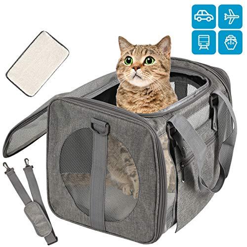 Vailge Transportbox Katze Transportbox Hund Faltbare Katzentransportbox, Transporttasche für Haustiere im Flugzeug Transportbox für Haustiere Katze Mittel Kleine Hunde 15lbs (Grau)