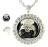 Sechao Custom Hot Sale Glamour Woman Owl Necklace Pendant Stud Earrings Set (Dog Bulldog Pug)