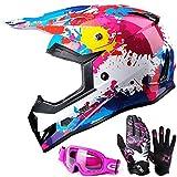 GLX Unisex-Child GX623 DOT Kids Youth ATV Off-Road Dirt Bike Motocross Helmet Gear Combo Gloves Goggles for Boys & Girls (Graffiti, Large)
