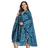 Summer Mae Imperméable Poncho avec Capuche Zip pour Adulte Cape Bleu Large