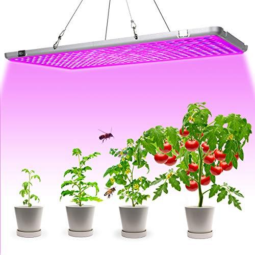 Bozily Lampada per Piante LED, Spettro Completo, Lampada per La Crescita delle Piante 300W, Nessun Rumore, per Varietà di Piante da Interno in Crescita, 338 LED, 56x30x1,8 cm