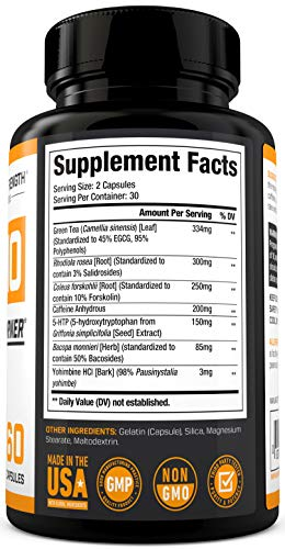 THERMO Fat Burner (60ct) - Thermogenic Weight Loss Supplement for Women & Men - Yohimbine, Green Tea Extract, More - Non-GMO Diet Pills - Sheer Strength Labs - Packaging May Vary 5