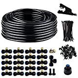 Misting System-Garden Watering System,Mister System with 1/4 in 100 ft PE black drip irrigation tubing+misting nozzles kit for plant watering and patio misters for cooling ( DIY cutting)