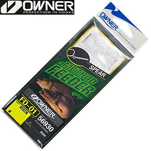 Owner, amo con lancia Method Feeder, 6 ami da pesca legati, per la pesca di pesci non predatori con feeder, Gr. 10 /5.0kg /0.22mm