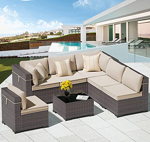 ALAULM 7 Piece Outdoor Patio Furniture Sets Patio Sectional Outdoor...