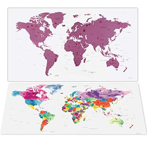 envami Carte du Monde a gratter I 80 X 40 CM I Rose I Planisphere Monde I...