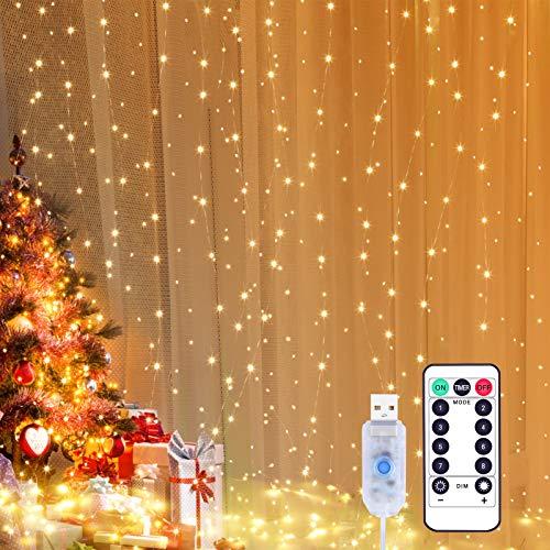 Yizhet Tenda Luminosa 3x3m 300 LED Natale Tenda Luci, Impermeabile IP65 Luci per Tende con Telecomando 8 Modalit Stringa Luce Catena per Interni, Esterni, Camera da Letto, Giardino (Bianco Caldo)