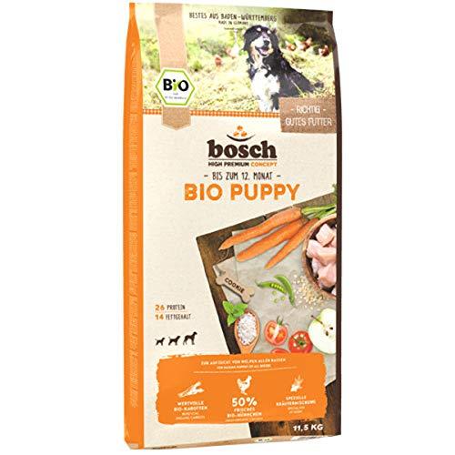 bosch HPC BIO | Puppy Hühnchen & Karotten | Hundefutter für Welpen aller Rassen | 100 % Rohstoffe aus nachweislich biologischem Anbau