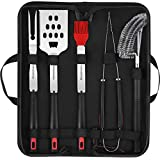 Homemaxs Set Accessoires BBQ – 5 outils pour grillades avec étui pour barbecue en acier inoxydable 304 solide – Kit incluant pince, brosse de nettoyage de grille, spatule, fourchette, pinceau (FDA)