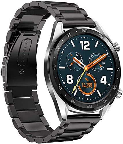 Pulseira HATALKIN da LeafBoat para Huawei Watch GT 2, compatível com Huawei Watch GT2 / GT/GT 2E, pulseira de relógio de 22 mm ajustável pulseira clássica de aço inoxidável (preta)