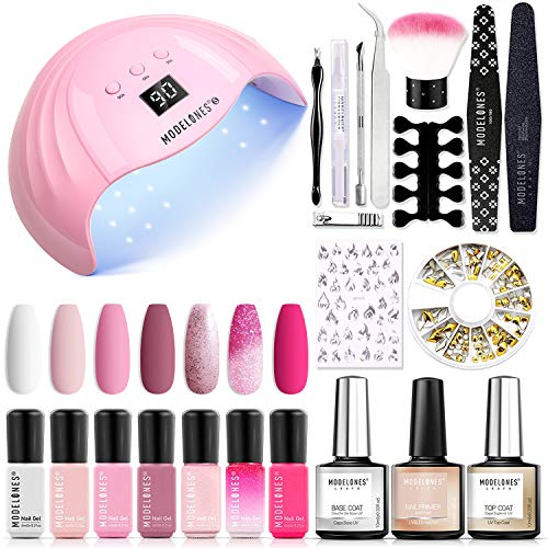 Modelones Gel Nail Kit Gel Nail Polish Kit with 48W LED Light - 7 Colors Pink Series Gel Nail Polish Set, Stater Kit for Gel Manicure Beginner Nail Art Lover, Fashion Packaging for Gift Set