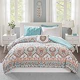 Intelligent Design Complete Bag Casual Boho Comforter with Sheet Decorative Pillow, All Season Bedding Set, Twin, Vinnie Aqua