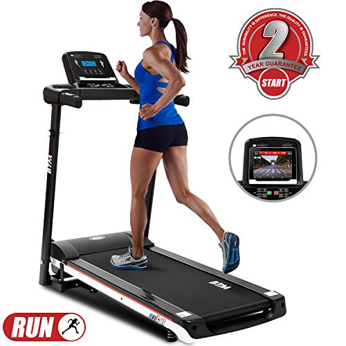 LITTLE TREE Folding Running Machine Treadmill, Digital Control, Walking Machine Fitness Equipment, 2.0CHP Motor to 12.8km/h 15 Programmes Portable Gym Equipment for Fitness Treadmill