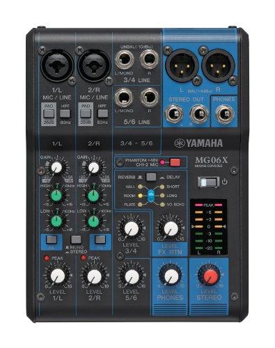 Yamaha MG06X Mixer Audio, Console di Mixaggio Compatta con 6 Canali d'Ingresso e Preamplificatori Microfonici D-PRE