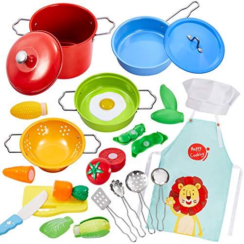 Buyger 21 Pezzi Accessori Cucina Pentole Cibo per Bambini Bambina Verdura da Tagliare Giocattolo, Acciaio Inossidabile