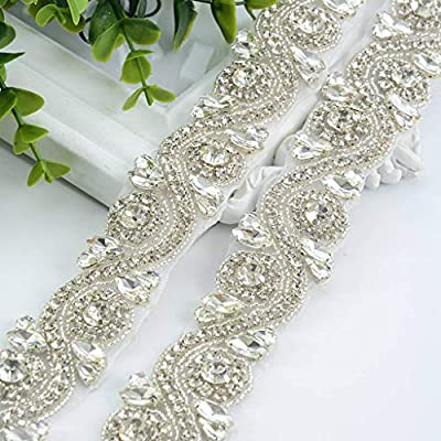 Wedding Belt Size: 1PC of 1Yard long silver wedding blet for bride dress. Two 3 yards long ribbon sashes (one white and one champagne) for your choice to match different dress. Bridal Belt Material: This bridal belt sash is made of high quality beads...
