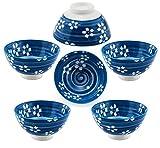 Hinomaru Collection Oriental Japanese style Set of 6 Ceramic Donburi Rice Bowl Tayo Multi Purpose...