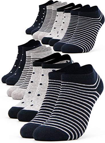 Occulto 8 Paia Calzini Sneaker da Donna | Calzini Corti a Righe, Puntini ed altri Motivi | Calze Carine Donna in Cotone 39-42 Navy