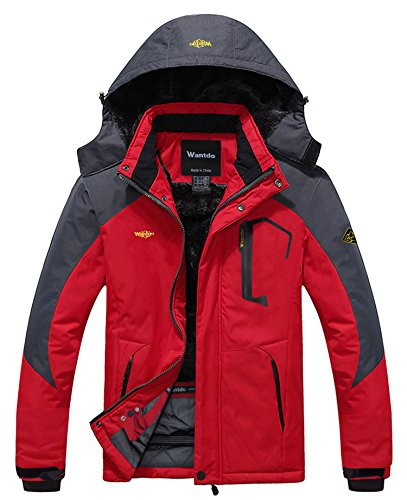 Wantdo Men's Waterproof Mountain Jacket Fleece Windproof Ski Jacket US L Red L