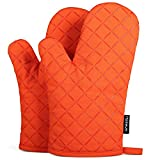 Oven Mitts with Silicone, Heat Resistant to 464° F, Recycled Cotton Infill, Flexibility Non-Slip Kitchen Oven Gloves for Baking and Kitchen, 1 Pair (Orange)