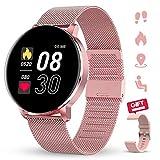 GOKOO Reloj Inteligente Mujeres Hombres con Android iOS Smartwatch Reloj 1.3 Pulgadas Pantalla Completa Táctil Reloj Deportivo Presión Arterial Frecuencia Cardíaca IP67 Impermeable Compatible (Rosa).