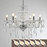 YYSHCHEN Crystal Glass Chandelier 6 Lights Clear Pendant Ceiling Lighting,Classic Vintage Candle Chandeliers for Dining Living Room Decoration Fixture