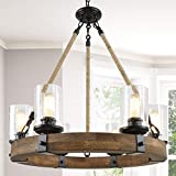 Farmhouse Chandeliers for Dining Rooms,6-Lights 25'' Wagon Wheel Chandelier,Hemp Rope Wood Chandelier with Seeded Glass Shade