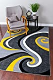 0327 Yellow 8x10 Area Rug Carpet Large New