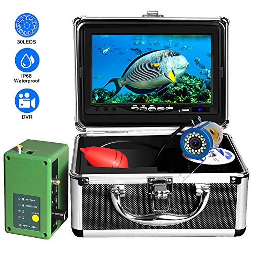Underwater Fishing Video Camera, OKK Fish Finder with 30 Adjustable IR and White LED Lights of 7 Inch 1080p Color Screen Professional DVR Recorder Ice Fishing Camera (15M with DVR)