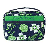 Dicksons Trust in The Lord Green Floral Pattern Quilted Cotton Zippered Bible Cover Case with Handle, Thinline