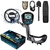 Professional Metal Detector for Adults, High Sensitivity 9 Identification Levels Gold Detector with PinPoint and Discrimination Mode LCD Backlight 10' Waterproof Search Coil with Headphone, Bag&Shovel