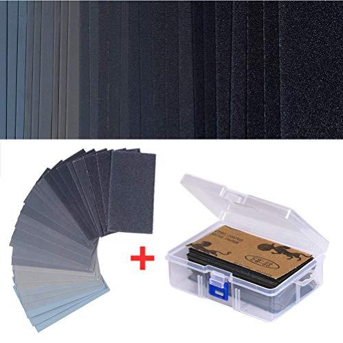 Cymax 108 Stück Schleifpapier Set Schleifpapier Sortiment Trocken/Nass Sandpapier Blätter mit Aufbewahrungskiste, 3 x 5,5 Zoll, Körnung 60 to 3000, für Automobil Schleifen
