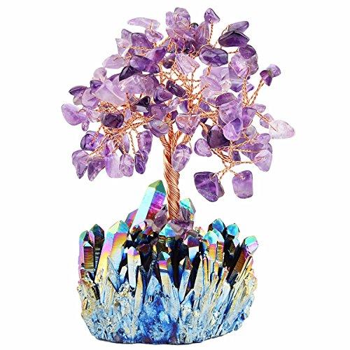 mookaitedecor Amethyst Crystal Tree, Quartz Cluster Rainbow...