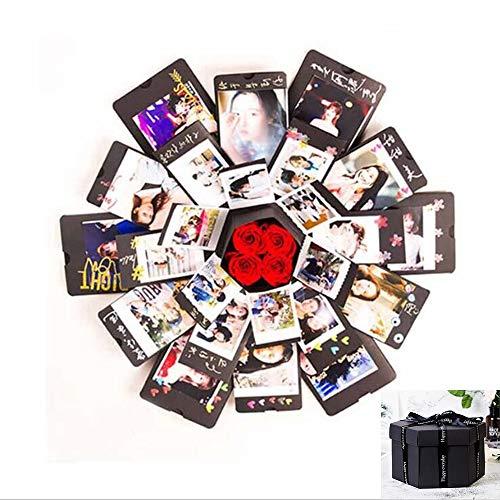 Creative Explosion Box -Scrapbook DIY Photo Album Box for Birthday Anniversary Valentine Day Wedding(Black).