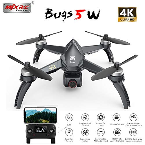 ETbotu Droni telecomandati, MJX Bugs 5 W B5W 5G WIFI FPV con 4K Camera GPS Brushless Altitude Hold RC Drone Quadcopter RTF 3 batterie