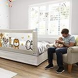 Fascol Barrière de Lit Enfant 180 x 93cm, Lit Bébé Barrière avec Tissu Oxford, Grande taille, Barrière de Lit pour Enfants de 1 à 7 Ans