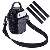 Wisdompro Bike Water Bottle Holder Bag, Bicycle Cup Drink Holder Bag with 2 Side Mesh Pocket and Adjustable Shoulder Strap, No Screws 3-Point Hook and Loop Attachment - Black