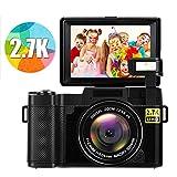 Macchina Fotografica Fotocamera Digitale Full HD 2.7K 24MP Macchina Fotografica Digitale Macchina Fotografica Compatta con Luce Flash Retrattile