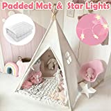Kids Teepee Tent with Padded Mat & Light String& Carry Case- Kids...