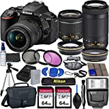 Nikon D5600 DSLR Camera with 18-55mm VR and 70-300mm Lenses + 2 Pc 64GB Memory, Tripod, Flash, and More (23pc Bundle)