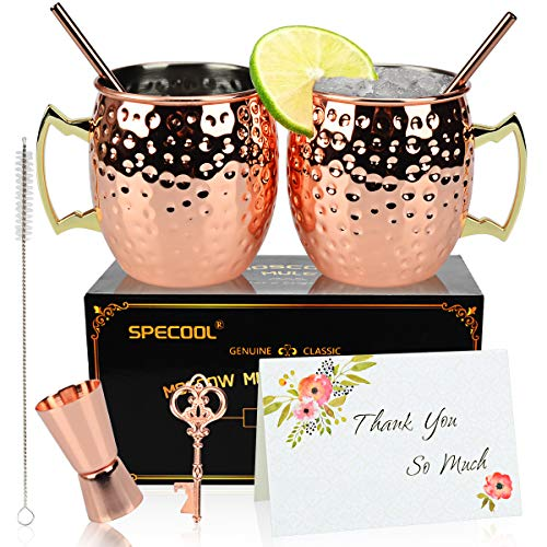 SPECOOL Tazze in Rame Moscow Mule da 16 Once per la Coppia, 2 Tazze in Rame martellato con Bicchiere da Cocktail in Acciaio Inossidabile, Set Regalo per lei in Puro Rame Solido Oro Rosa