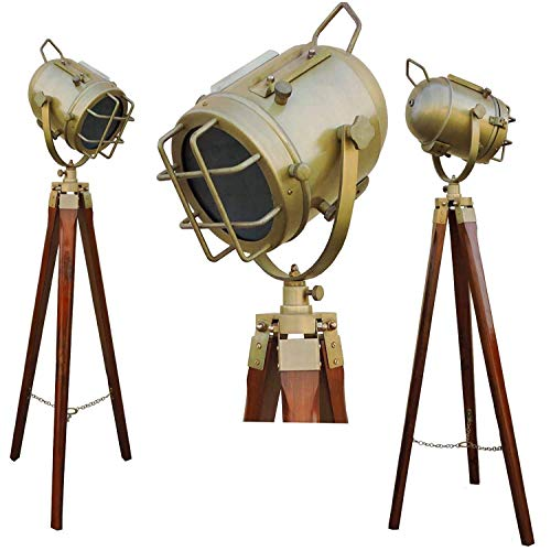 Lamps And Light Brass Tripod Lamp Antique Floor Lamp Wooden Stand for Home and Office Decor.