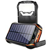 Chargeur Solaire Imperméable Portable Power Bank 26800mAh, Soluser Imperméable Batterie Externe Solaire avec...