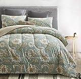 ATsense Paisley Comforter Set Queen, All Season 3-Piece 100% Cotton Fabric, Soft Microfiber Filled Bedding, Lightweight Reversible Duvet Insert (Sage Green, MEZY)