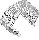 BCBG Generation Women's Pearl Silver Multi Row Cuff Bracelet, One Size