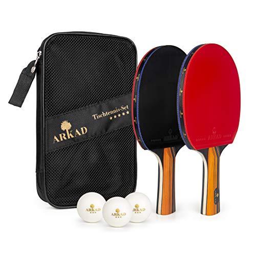 Arkad Tischtennis Set • 2 Tischtennisschläger + 3 Premium Bälle • Tischtennis Schläger Set mit Tasche • Tischtennisschläger Profi Sport Set für Indoor & Outdoor Spiele