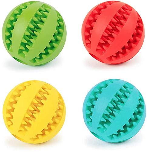 Fippy 4 Stück Hundespielzeug Ball Naturkautschuk Hundespielzeug Set mit Zahnpflege Hundekauspielzeug Ball Hundezahnbürste für große mittelgroße Hundewelpen 6cm (6cm)