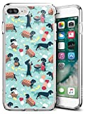Fashion Anti-Scratch Soft Durable TPU Ultra-Clear Silicone UV Printing Protective Heart Lines Drawing Phone Case for iPhone 7 Plus 8 Plus (Hot Dog Dachshund)