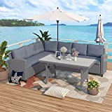 LZ LEISURE ZONE Patio Furniture Sets, Outdoor Patio Dining Table Set, PE Rattan Wicker Conversation Set, All-Weather Sectional Sofa Set with Table & Soft Cushions (Grey)