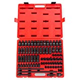 Sunex 3580, 3/8 Inch Drive Master Impact Socket Set, 80 Piece, SAE/Metric, 5/16 Inch - 3/4 Inch, 8mm - 19mm, Standard/Deep/Universal, Cr-Mo, Radius Corner, Chamfered Opening, Dual Size Markings, Heavy Duty Storage Case, Includes Star and Inverted Star Soc
